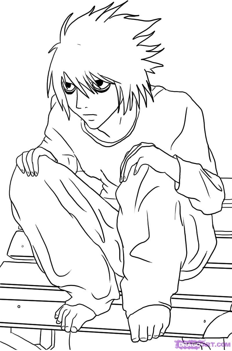 800x1211 How To Draw L Lawliet From Death Note, Step By Step, Anime