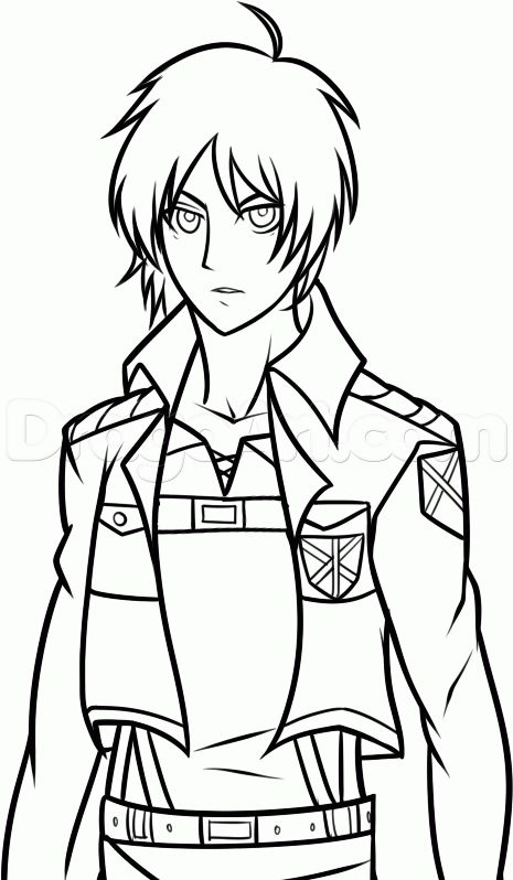 465x798 How To Draw Eren From Attack On Titan, Eren Yeager, Step By Step