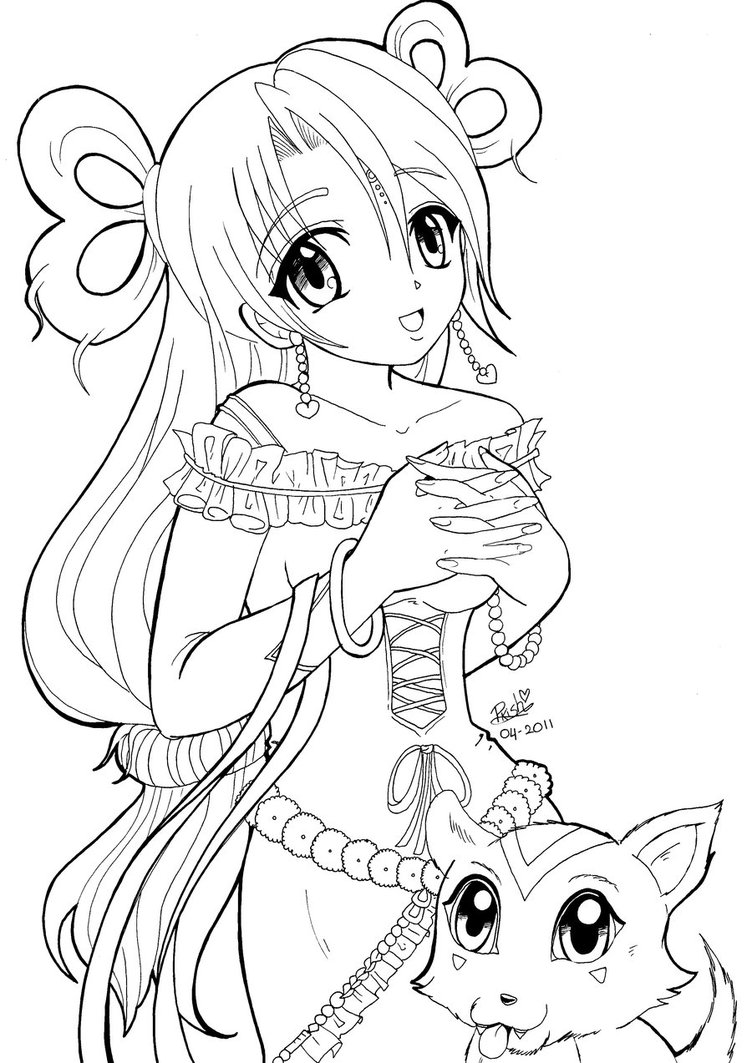 752x1063 Japanese Anime Coloring Pages For Girls Preschool In Tiny Draw