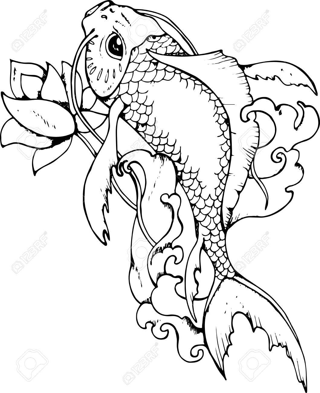 1059x1300 Llustration Of Japanese Carp. Black And White Drawing Royalty Free