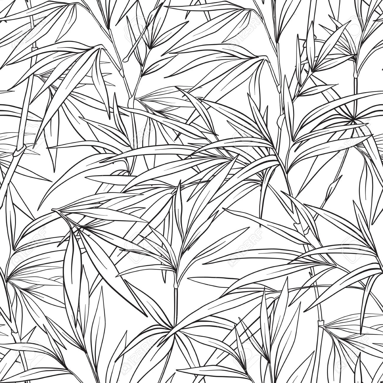 1300x1300 Seamless Pattern With Bamboo In Japanese Style. Outline Drawing