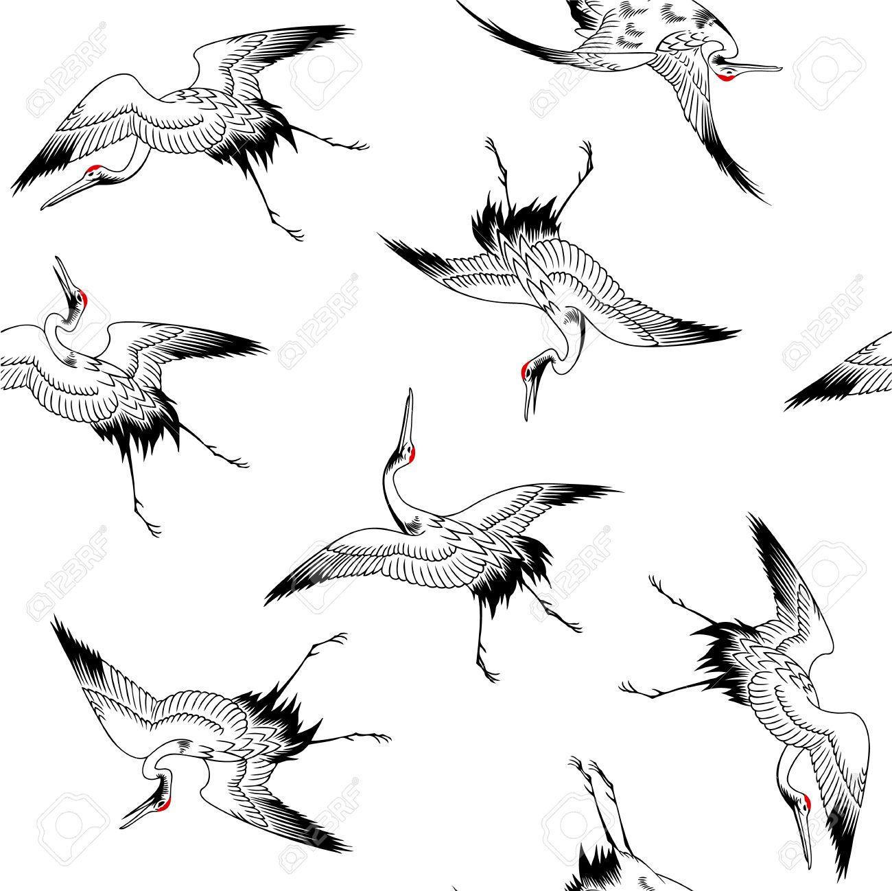 1300x1298 23902835 Japanese Crane Pattern Stock Vector Crane Bird.jpg (1300