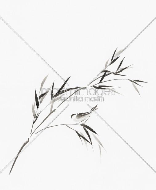 507x620 Stock Illustration Bird On A Bamboo Branch Japanese Zen Sumi E