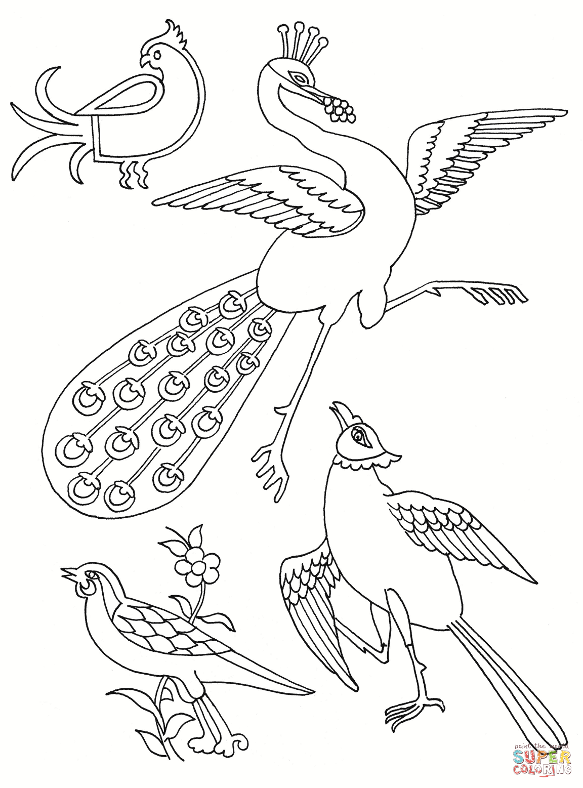 1152x1557 Stylised Birds Coloring Page Free Printable Coloring Pages