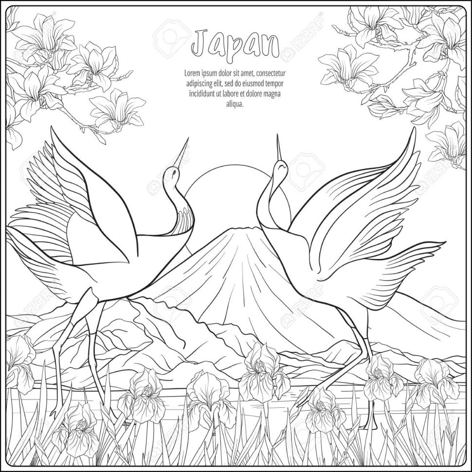 970x970 Coloring Landscape Coloring Book Japanese Witht Fuji