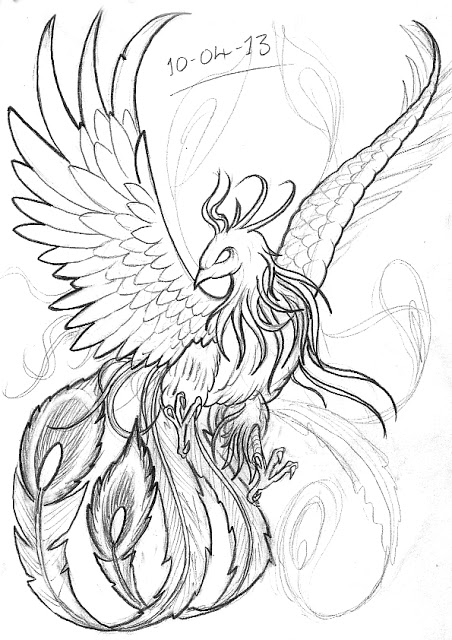 452x640 Realistic Phoenix Bird Drawings