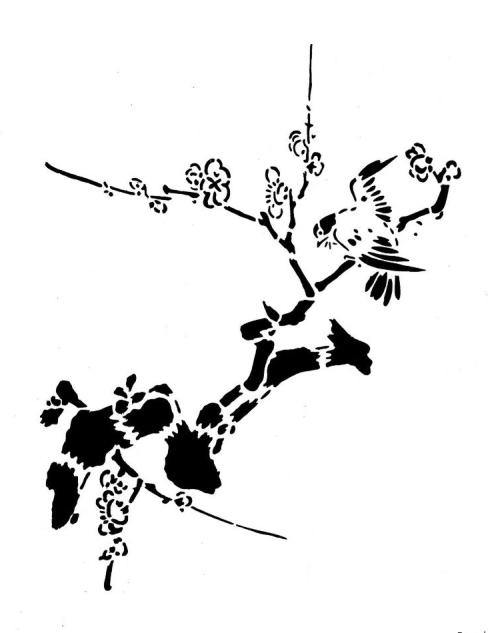 500x633 Japanese Bird Stencil