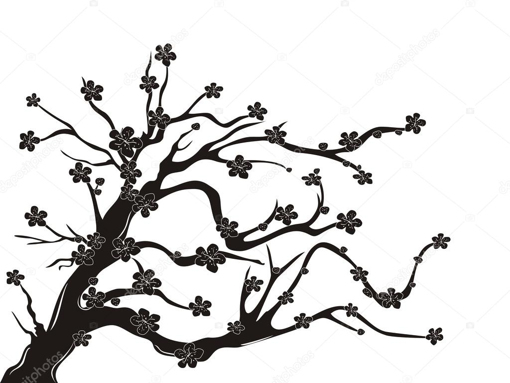 1024x768 Cherry Blossom Tree Silhouette Stock Vector Huhulin