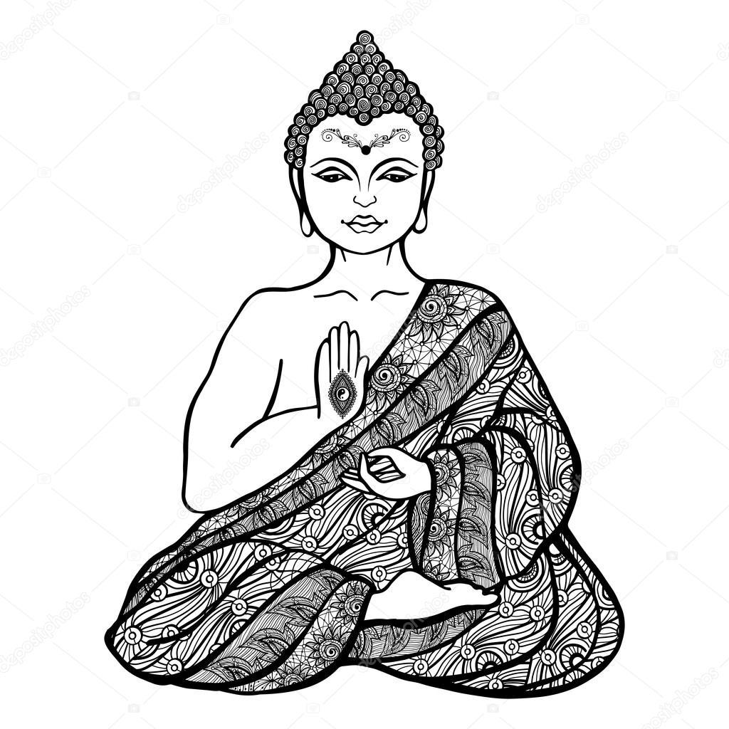 1024x1024 Decorative Buddha Sketch Stock Vector Macrovector