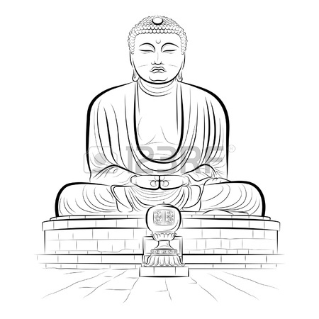 450x450 Drawing Giant Buddha Monument In Kamakura, Japan. Royalty Free