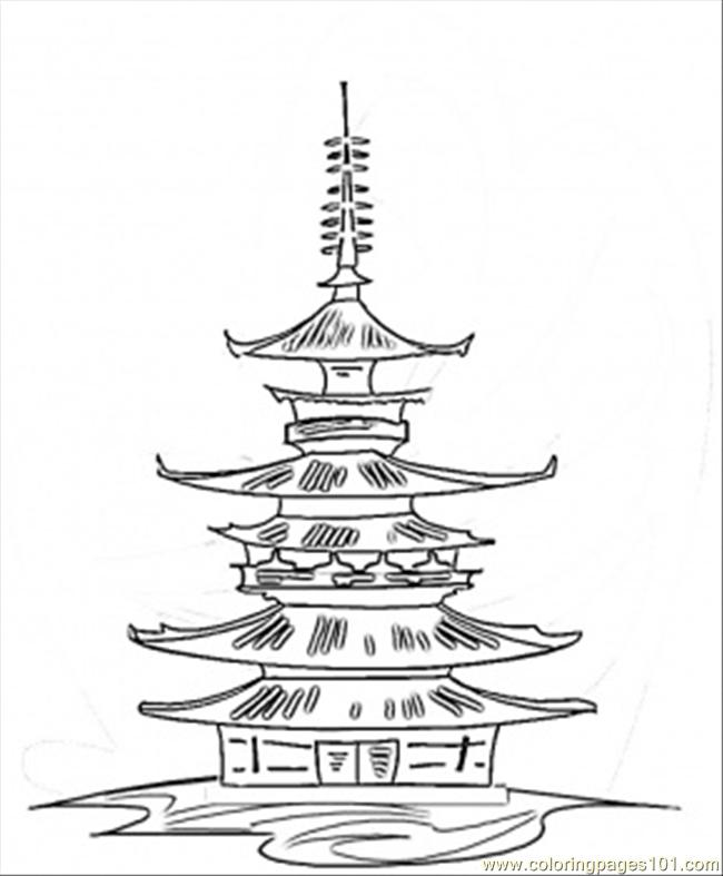 650x787 Japanese Shrine Buddhist Temple For Free Coloring Save It