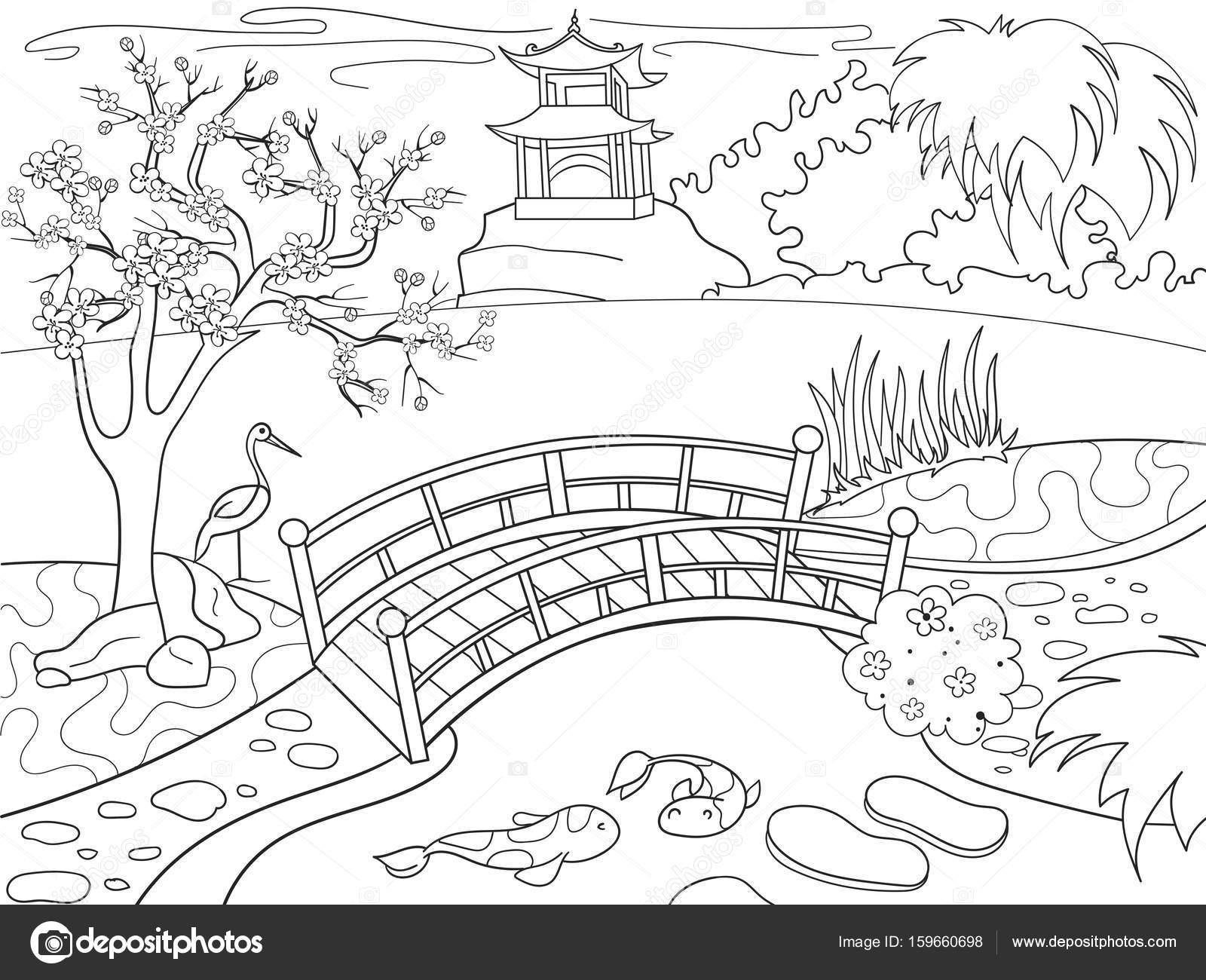 1600x1300 Nature Of Japan Coloring Book For Children Cartoon. Japanese