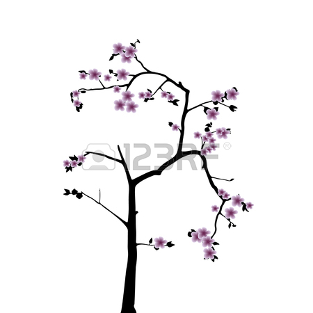 450x450 Pink Cherry Blossom Sakura Flowers In A Japanese Style Royalty