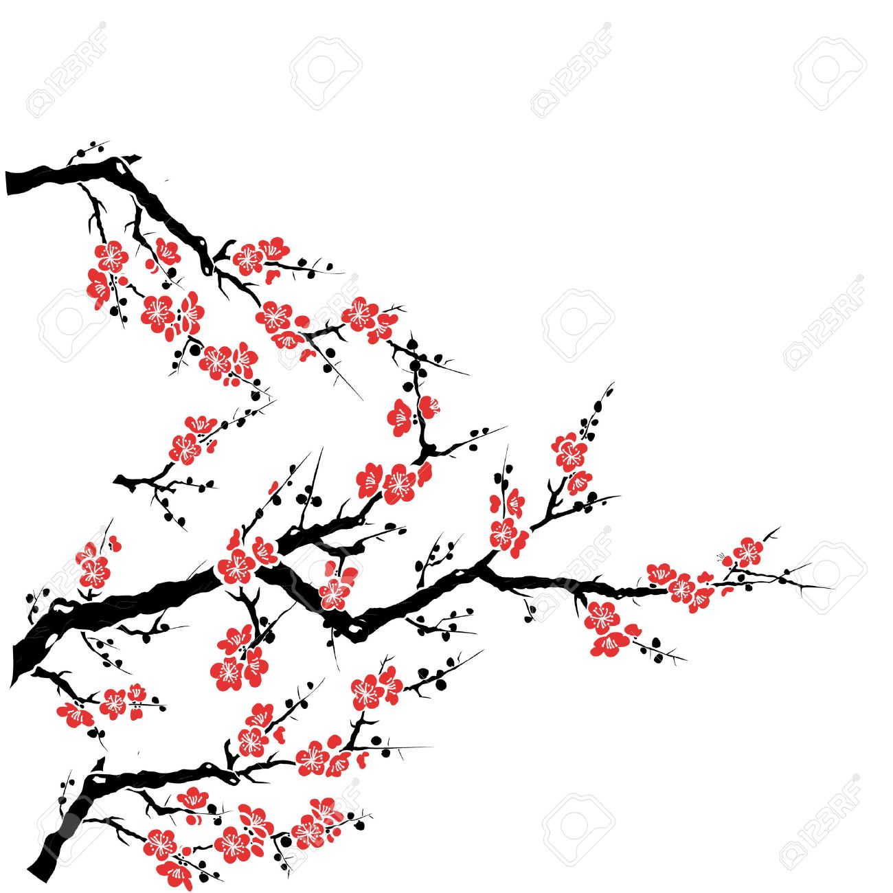 1300x1300 Red Plum Tree Royalty Free Cliparts, Vectors, And Stock