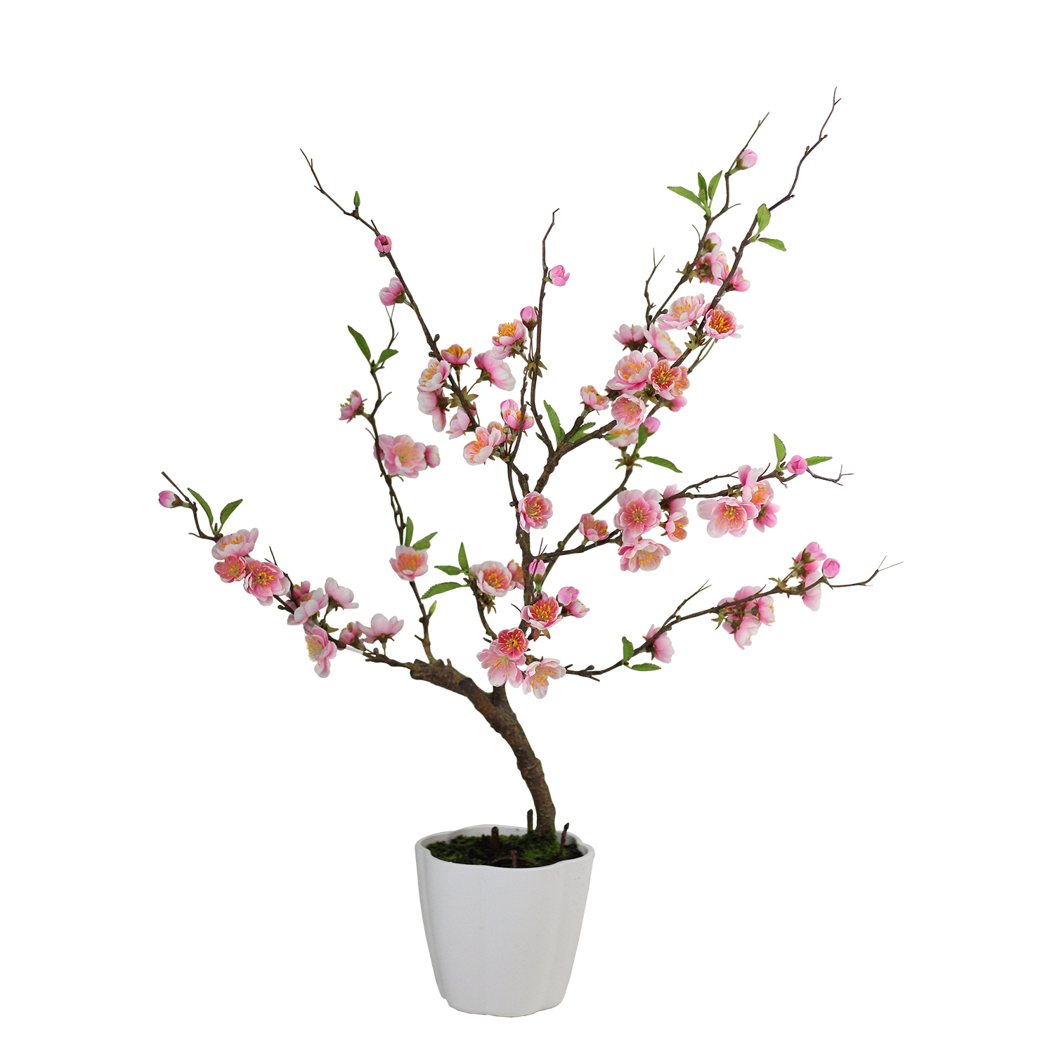 1500x1500 Pink Artificial Ming Cherry Blossom Tree In Pot