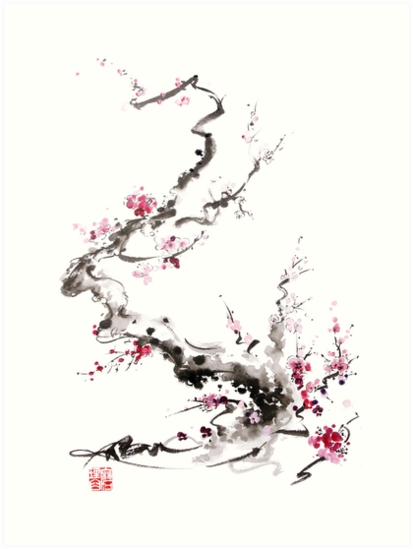 413x549 Sakura Cherry Blossom Pink And Red Flowers Tree Watercolor