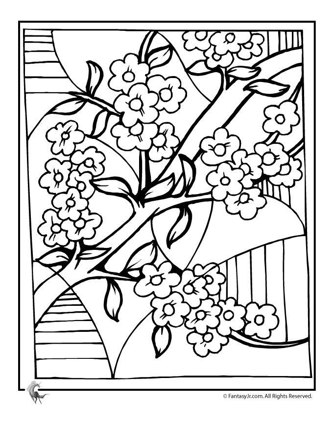 680x880 Drawn Ume Blossom Coloring Page