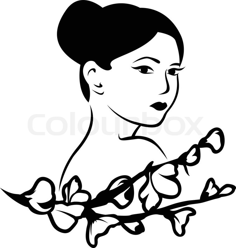759x800 Beautiful Japanese Woman With A Branch Of Cherry Blossoms, Stencil