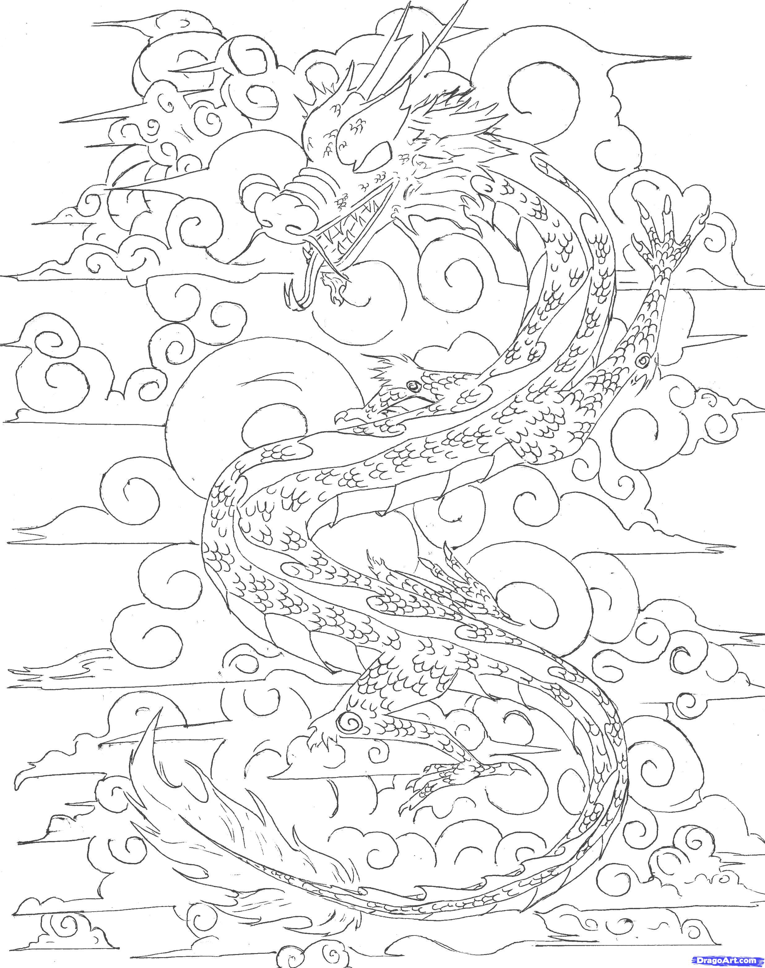 2472x3125 Japanese Dragon Outline How To Draw A Chinese Sky Dragon Step 6