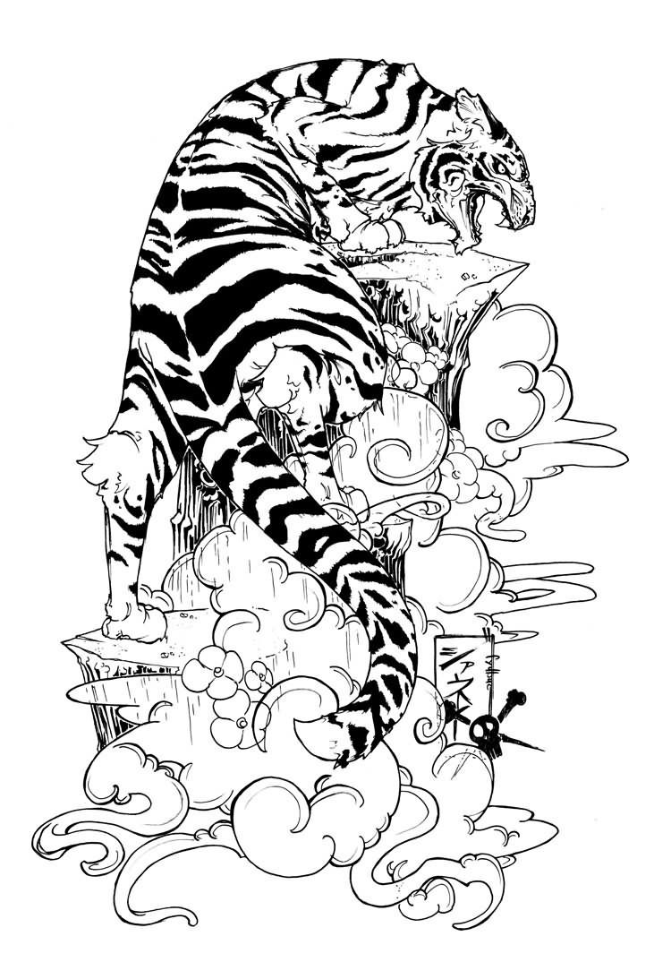 731x1093 Japanese Tiger Tattoo Design