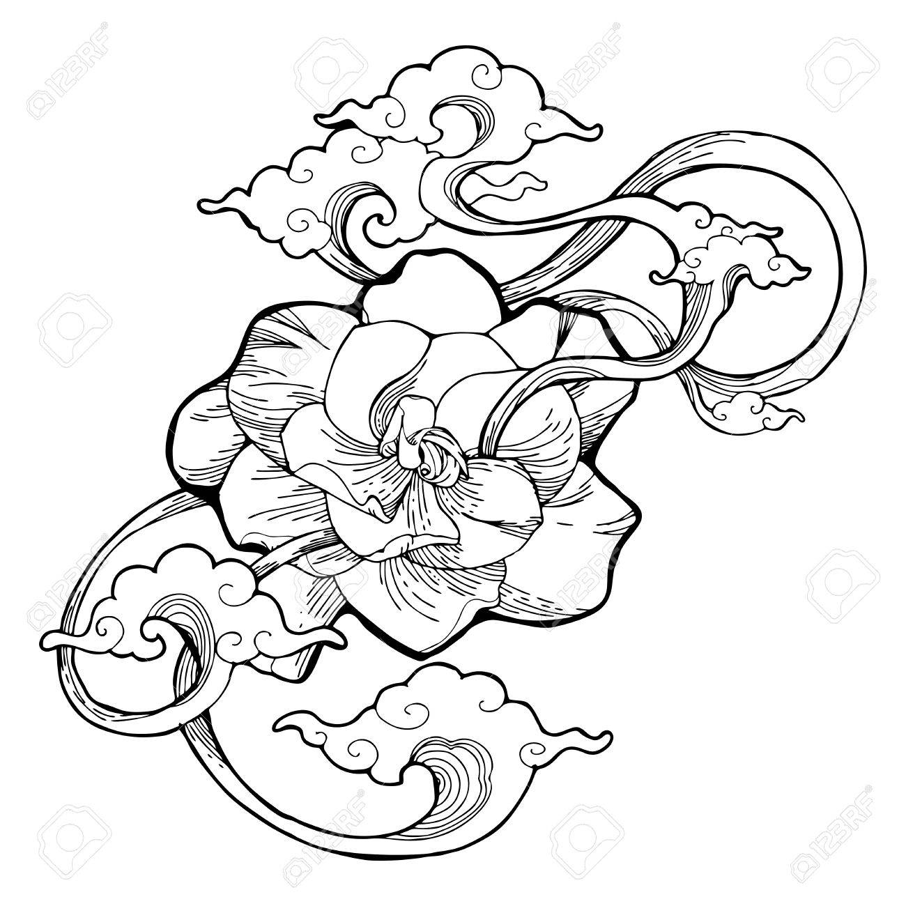 1300x1300 Cape Jasmine, Gardenia Jasmine And Aroma Cloud Design By Ink