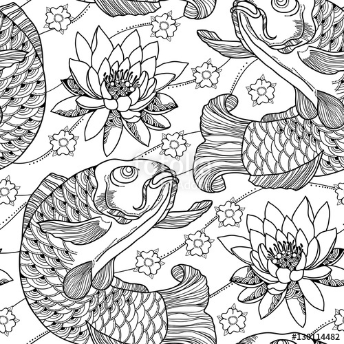 500x500 Vector Seamless Pattern With Outline Koi Carp And Lotus Or Water