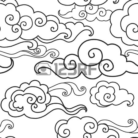Japanese Clouds Drawing