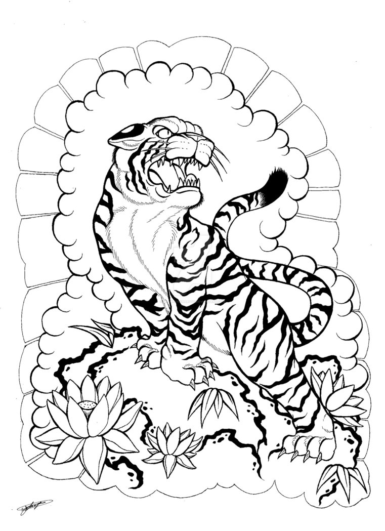 761x1049 My Japanese Tiger And Floral Tattoo Design! 3 By Shannonxnaruto