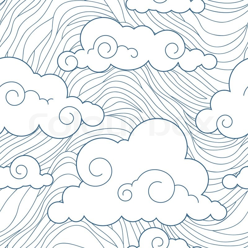800x800 Seamless Stylized Clouds Pattern Stock Vector Colourbox