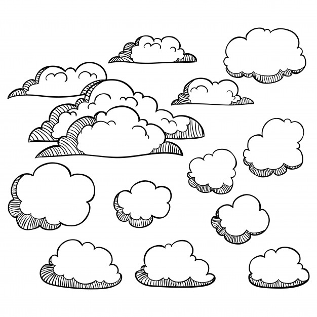 626x626 Set Of Doodle Clouds On White Background Vector Premium Download