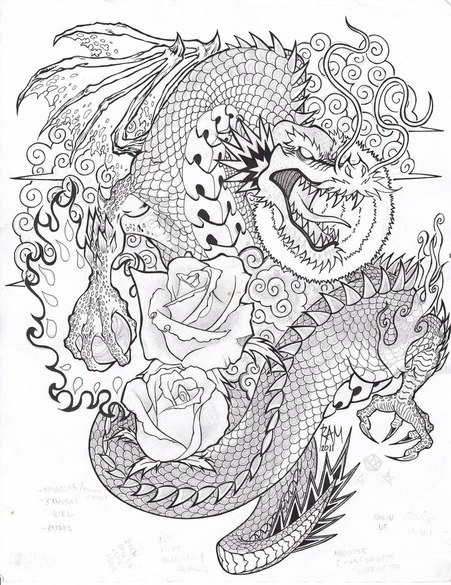 900x1167 Dragon Tattoo Sketch By Bopet