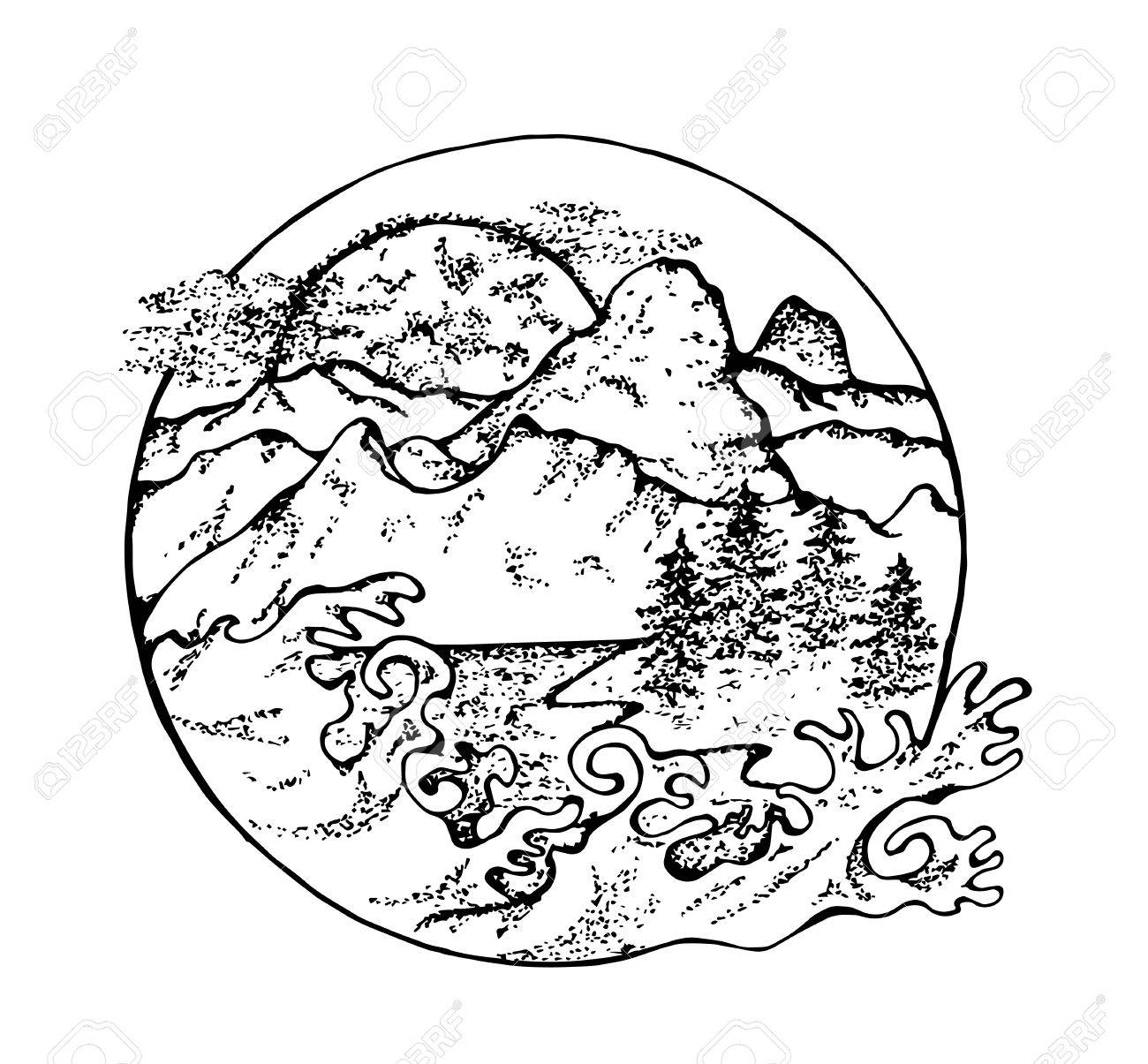 1300x1205 Illustration Of Fir, Moon, Clouds And Japanese Waves. Royalty Free