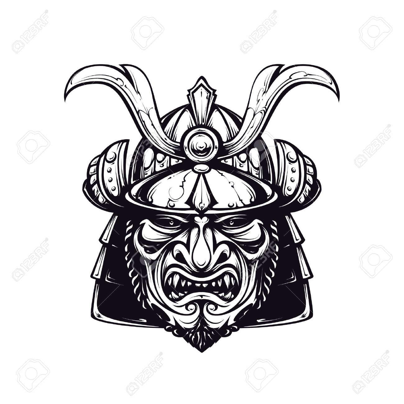 1300x1300 Samurai Mask Clip Art. Black And White Version Isolated On White