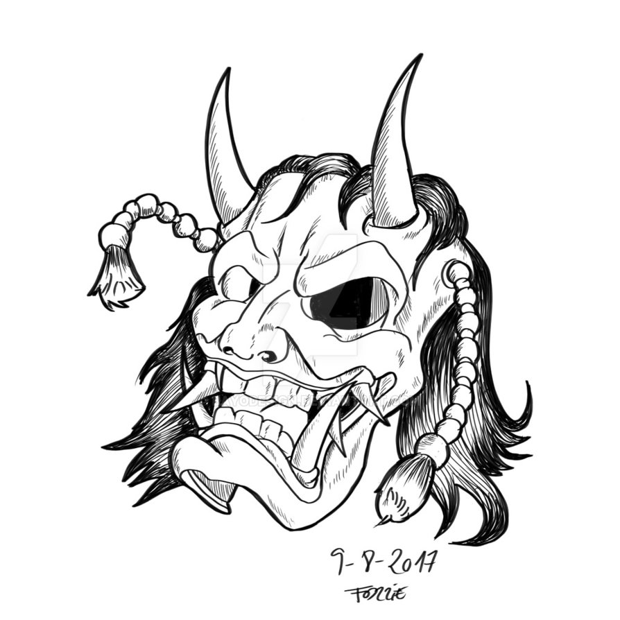 894x894 Hannya Mask. Daily Sketch 124. By Bayodesign