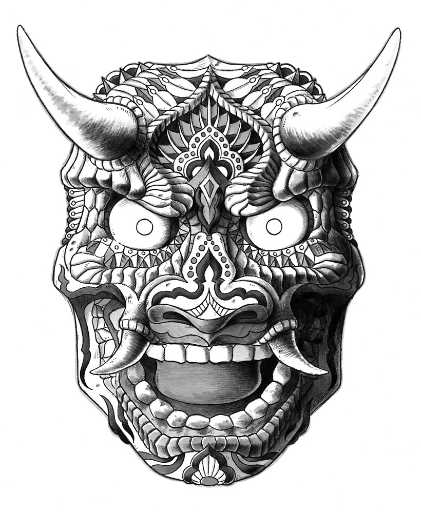 820x1000 Japanese Demon Mask V2 By Bioworkz Redbubble