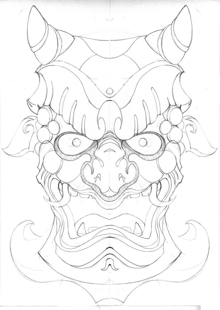 Japanese Tattoo Line Drawing : Japanese demon mask drawing at getdrawings free for