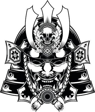 382x453 Samurai Mask Japanese Premium Clipart