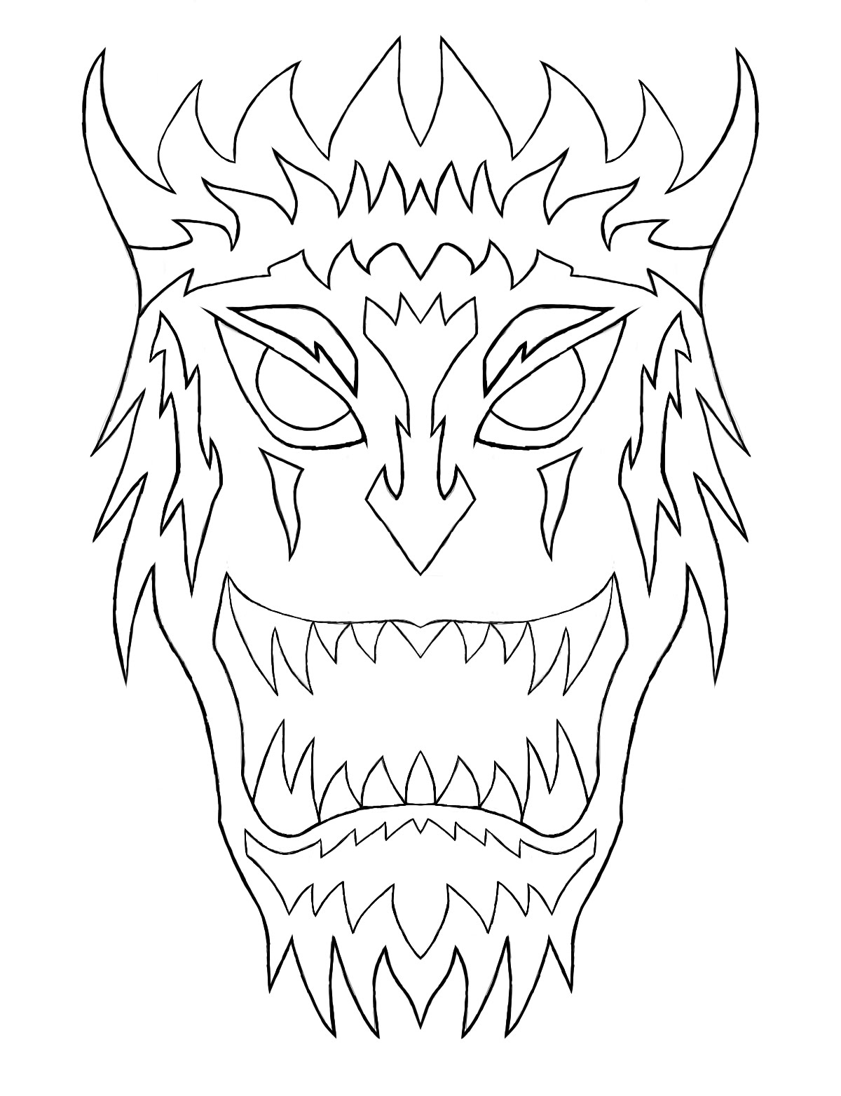 1200x1564 Speed Art Out Lining (Japanese Demon Mask)