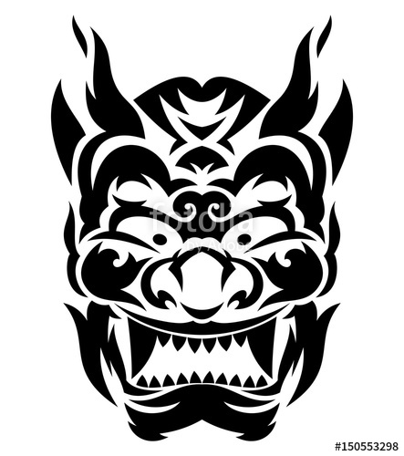 443x500 Tribal Japanese Evil Mask Stock Image And Royalty Free Vector
