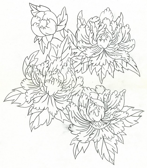 628x714 Flowers And Hannya Mask Tattoo Sketch