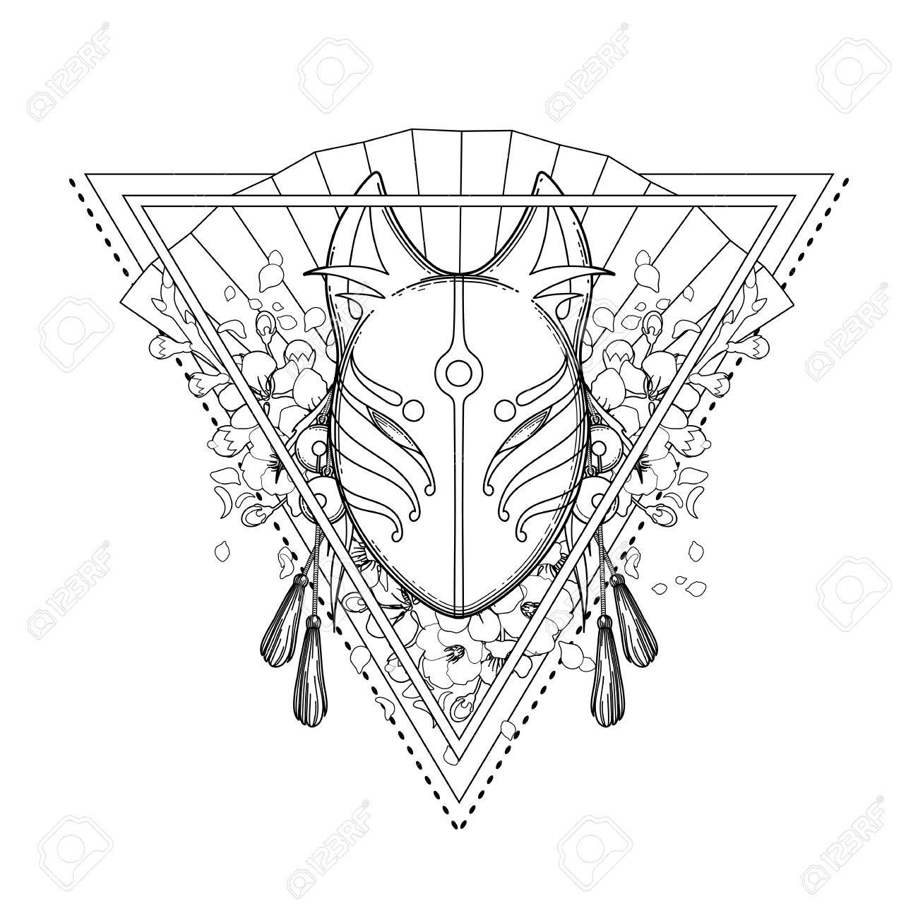 1300x1300 Graphic Demon Fox Mask Royalty Free Cliparts, Vectors, And Stock