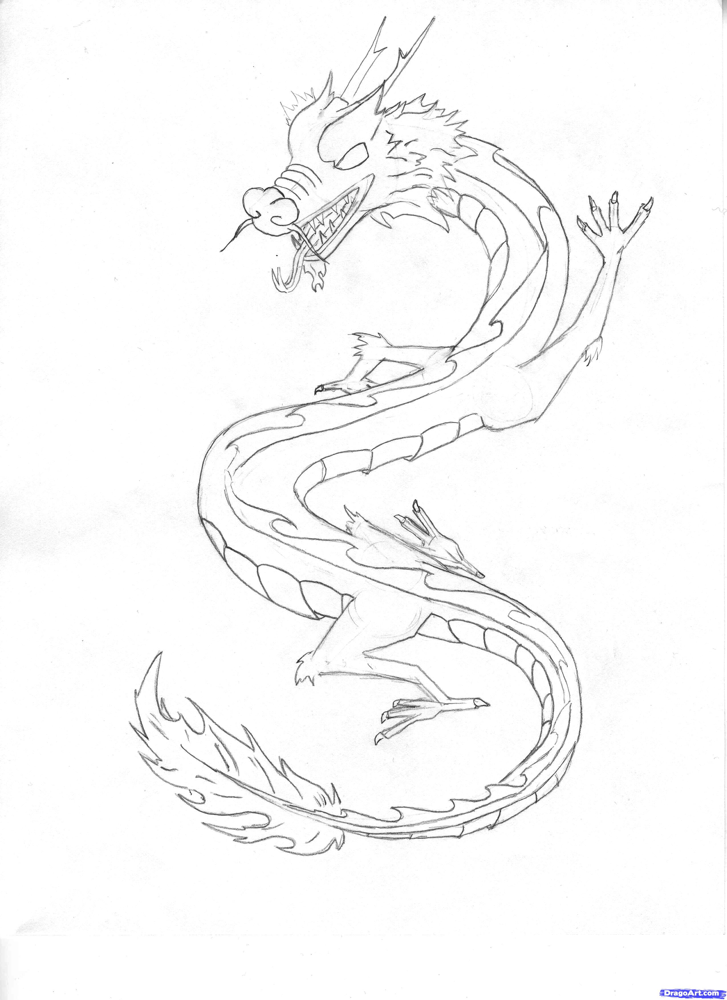 2550x3509 Japanese Dragon Drawings How To Draw A Chinese Sky Dragon Step 4
