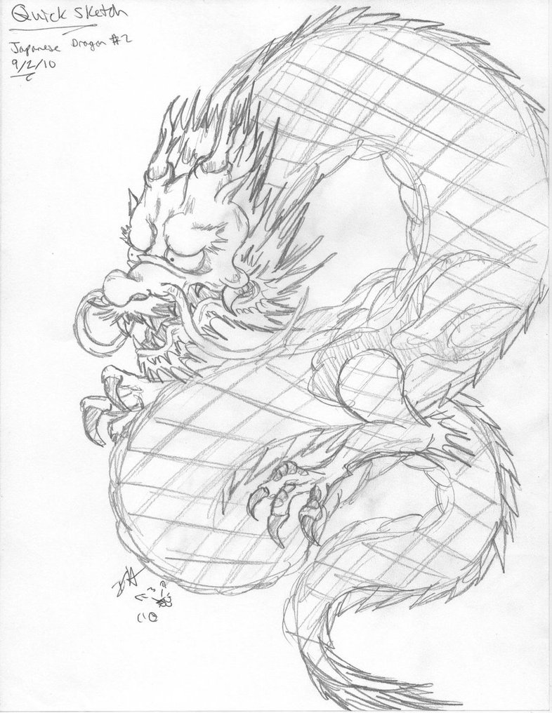 786x1016 Quick Sketch 2 Japanese Dragon By Domo Disfunktion