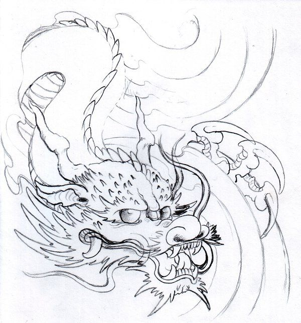 Japanese Dragon Head Drawing