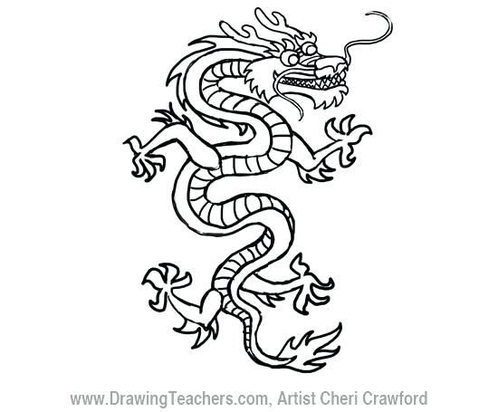 550x455 Dragon Outline Drawing Image Titled Draw A Dragon Step Dragon Head