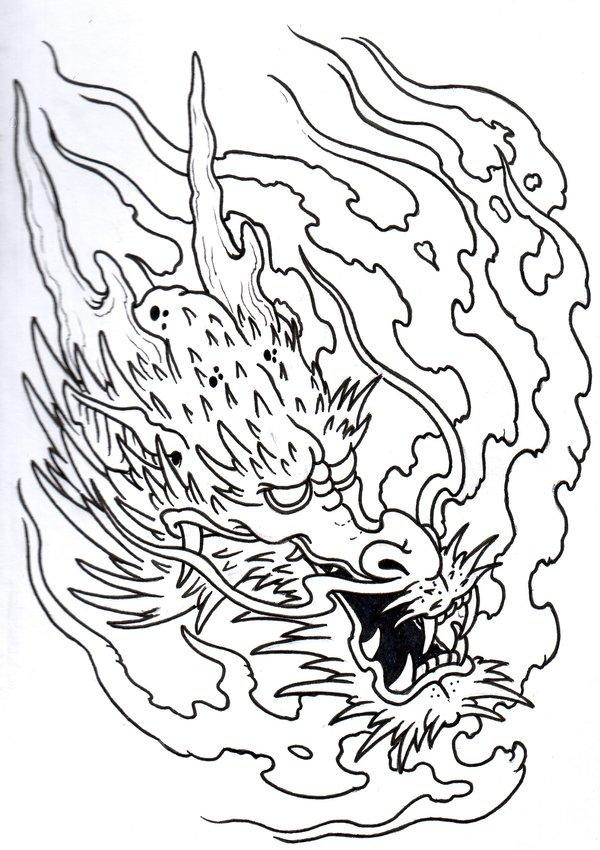 600x850 Flaming Dragonhead Outline By Vikingtattoo