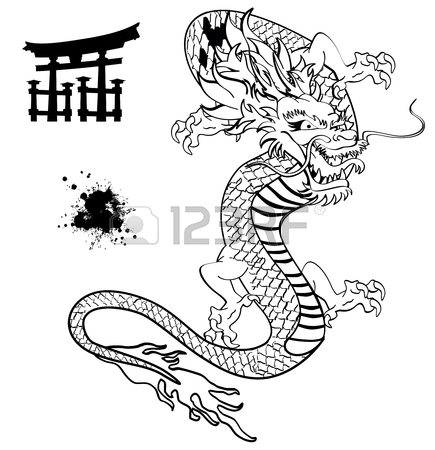 Japanese Dragon Line Drawing