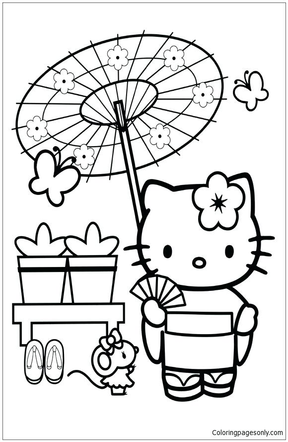 580x889 Japanese Dragon Coloring Sheets Hello Kitty In Japan Page Free