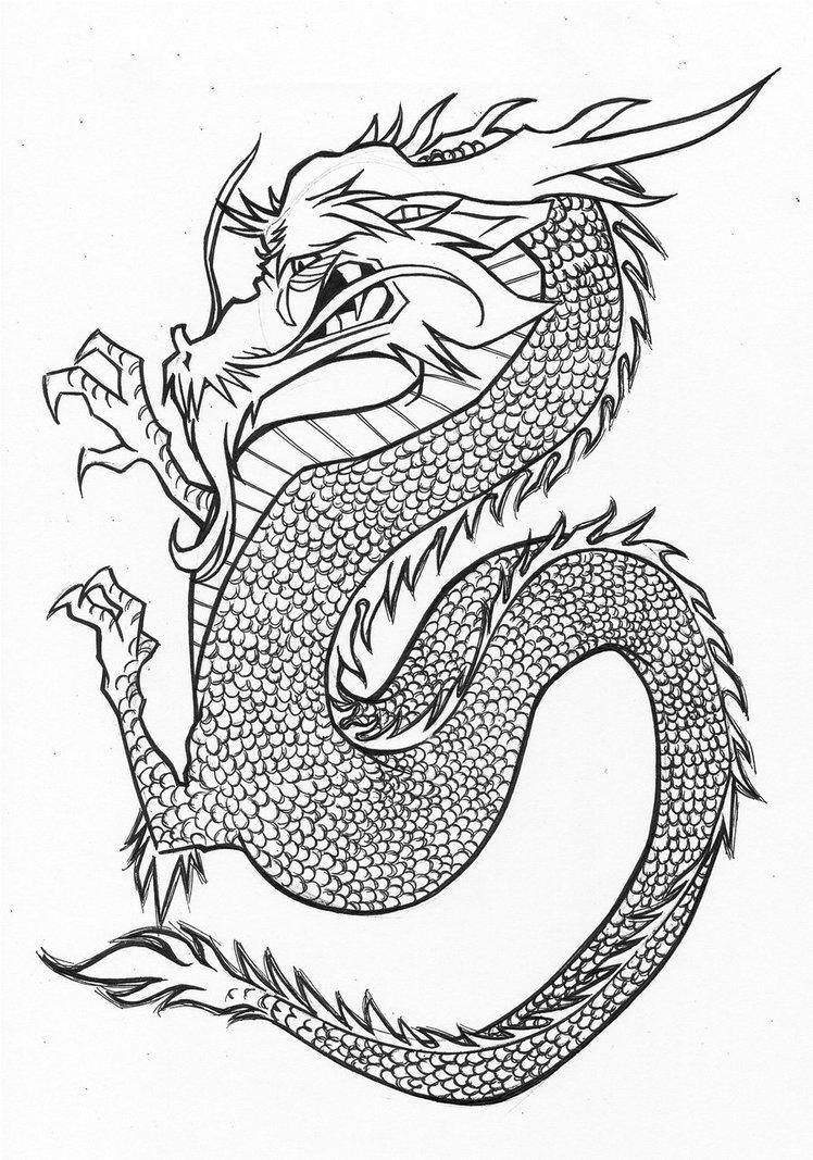 748x1067 Japanese Dragon Ink By Rilesthornus