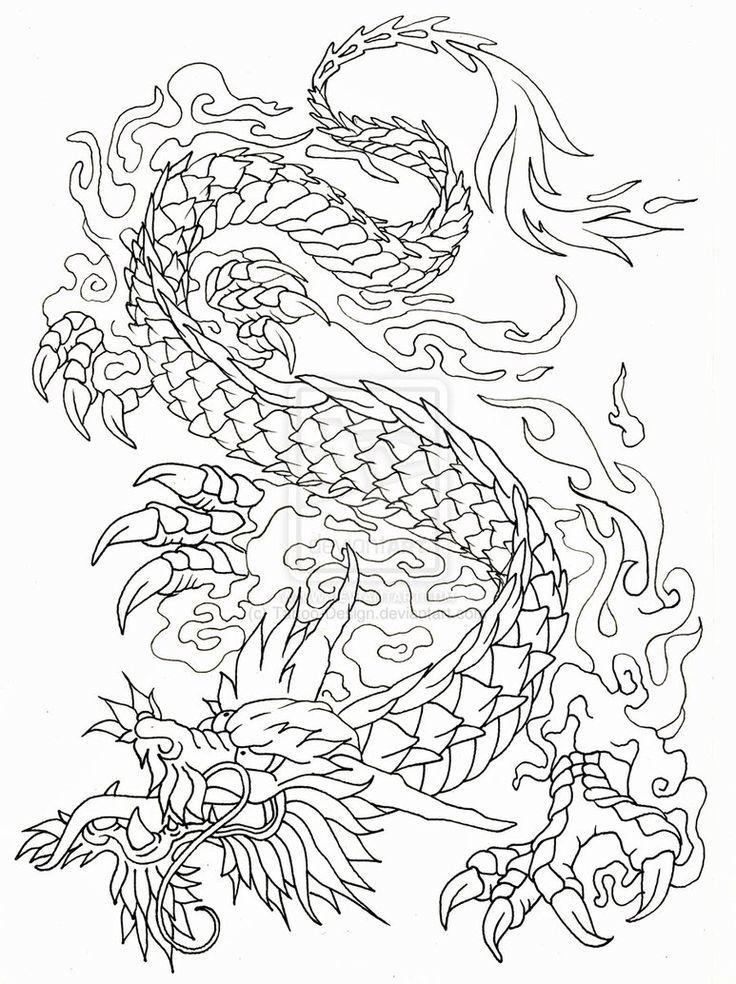 736x984 Japanese Dragon Outline Tattoo